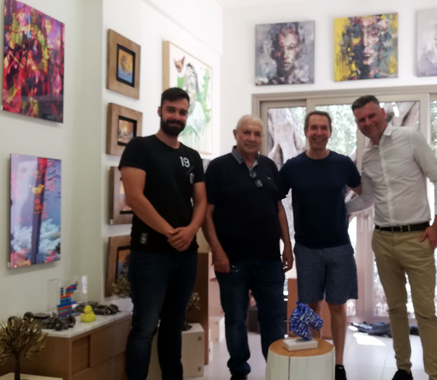 Thanos Loudos, Dakis Joannou, Jeff Koons and Kostas Biblis (General Manager of Domes Miramare).